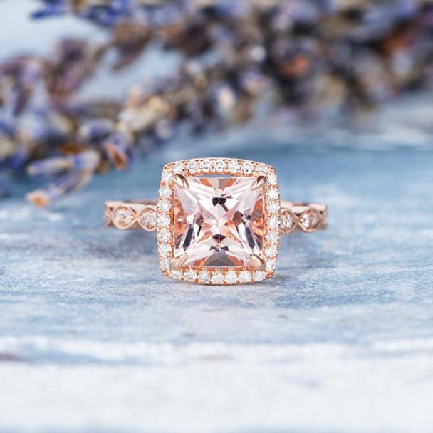 7mm Princess Cut Engagement Ring Morganite Ring
