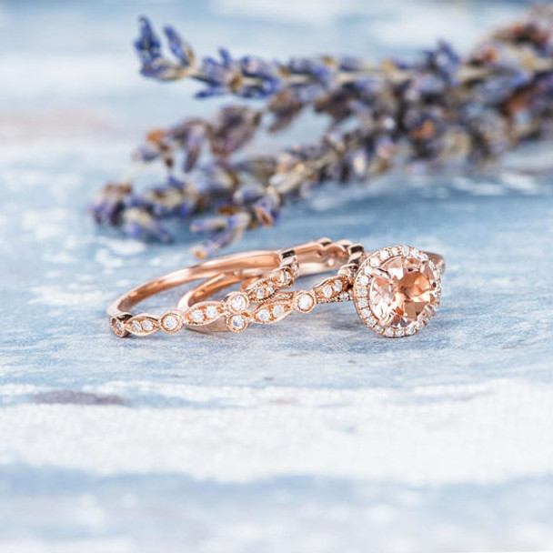 7mm Round Peachy Morganite Engagement Ring Wedding Band Set