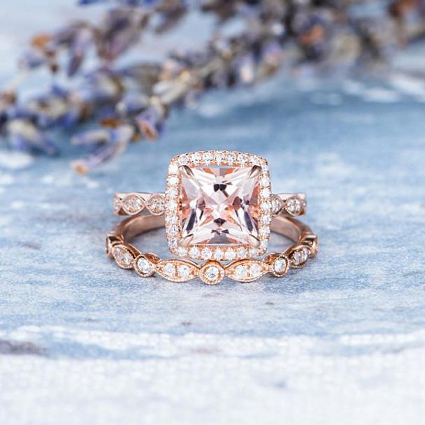 7mm Princess Cut Morganite Engagement Ring Set