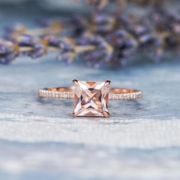 Unique Diamond 7mm Princess Cut Morganite Promise Ring