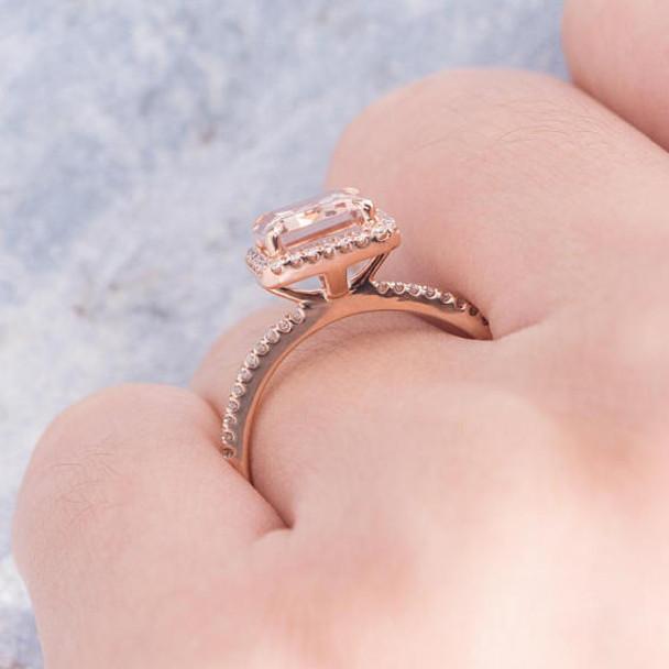 Diamond Halo 8*10mm Emerald Cut Engagement Ring