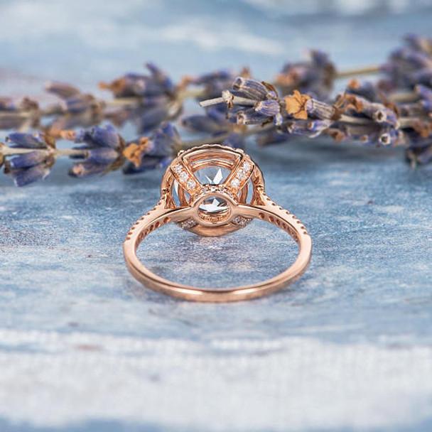 Unique 8mm Round Cut White Topaz Engagement Wedding Ring