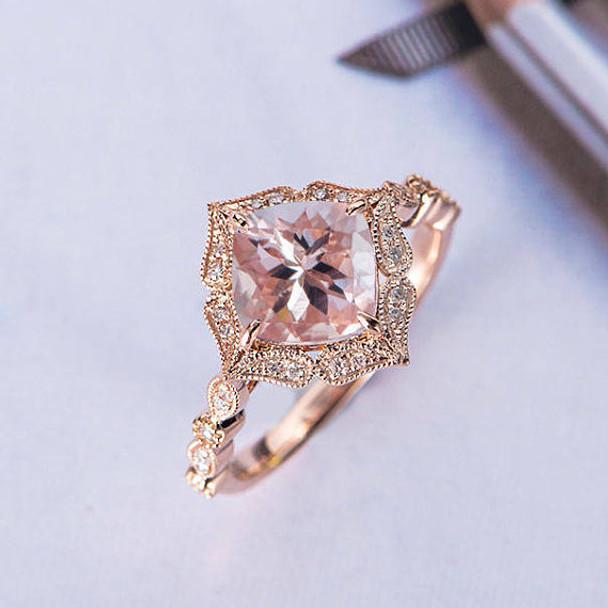 Rose Gold 7mm Cushion Cut Bridal Morganite Ring