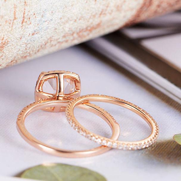7mm Cushion Cut Diamond Wedding Morganite Ring Set