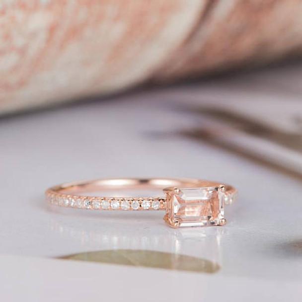0.22ct Emerald Cut Morganite Promise Ring
