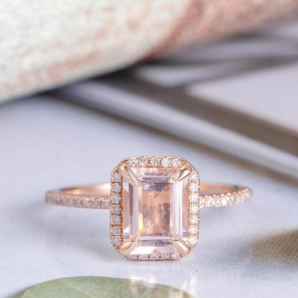 6*8mm Emerald Cut Morganite Rose Gold Wedding Ring