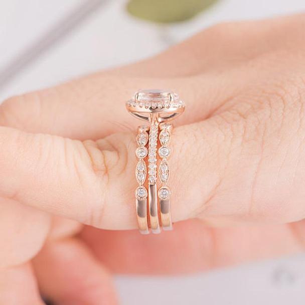 3psc 6*8mm Oval Cut Morganite Diamond Wedding Engagement Ring Set