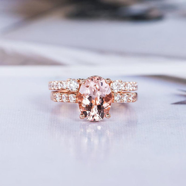 6*8mm Oval Cut Morganite Wedding Ring Bridal Set