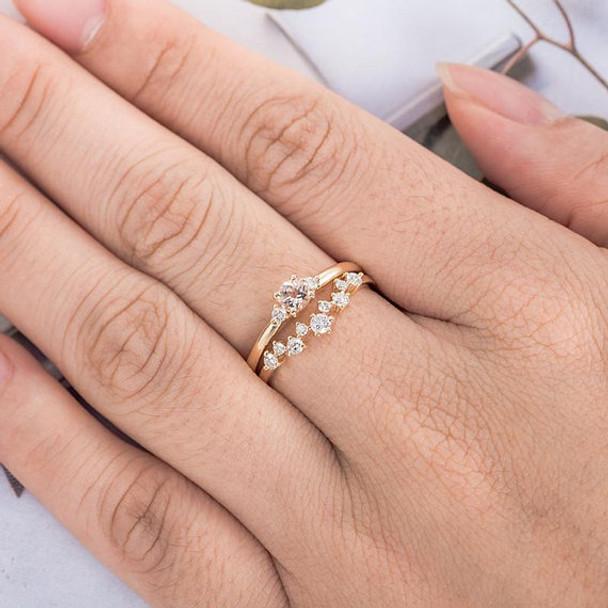 Yellow Gold 4mm Round Cut Morganite Bridal Set Engagement Ring Set