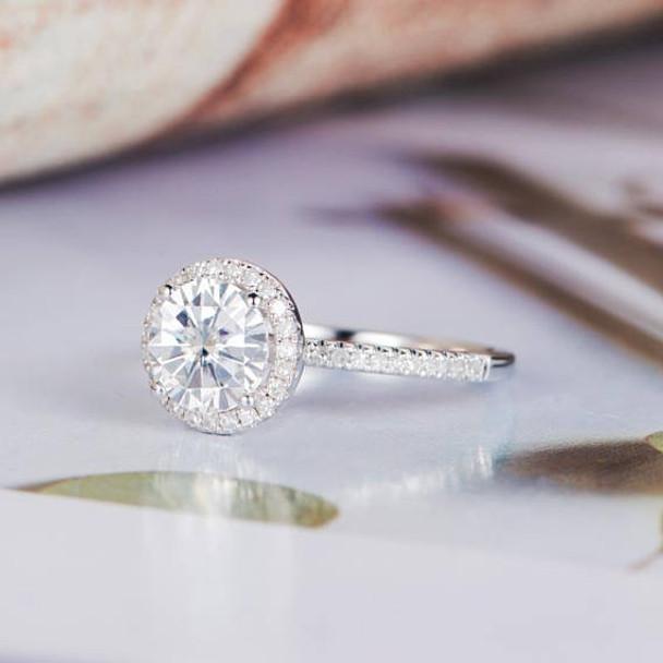 Half Eternity Diamond Band 6.5mm Round Cut Moissanite Wedding  Ring