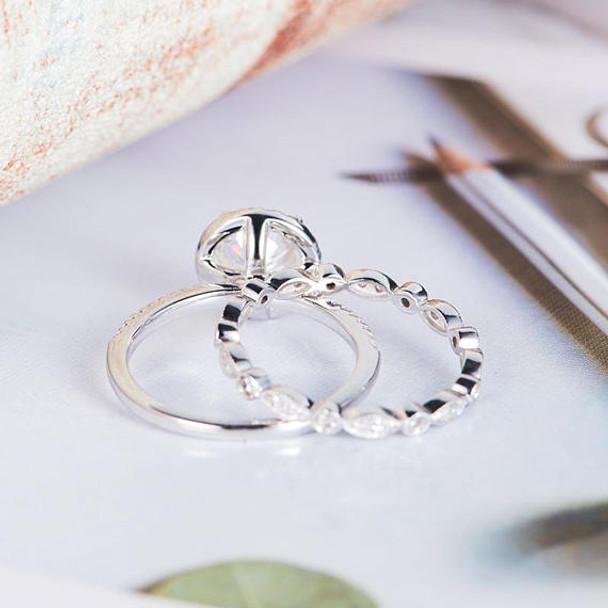 6.5mm Round Cut Antique Moissanite Bridal Set