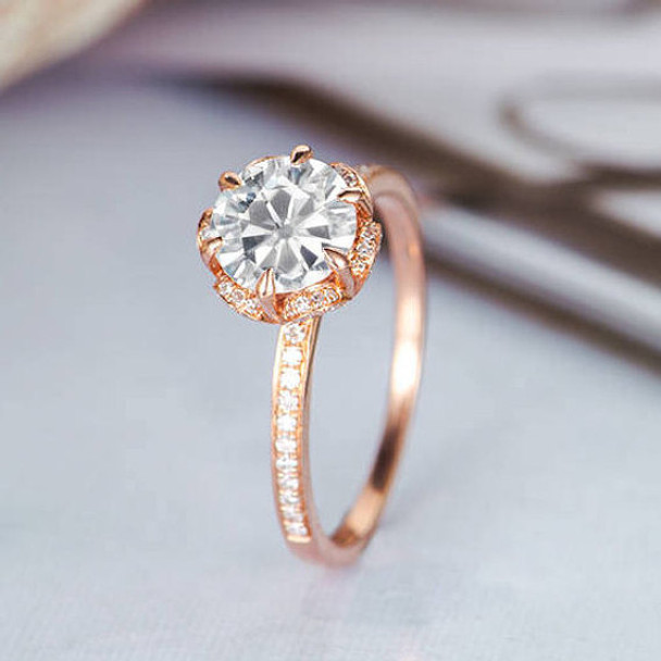 Flower Shaped Halo Diamond  6.5mm Round Moissanite Engagement Ring