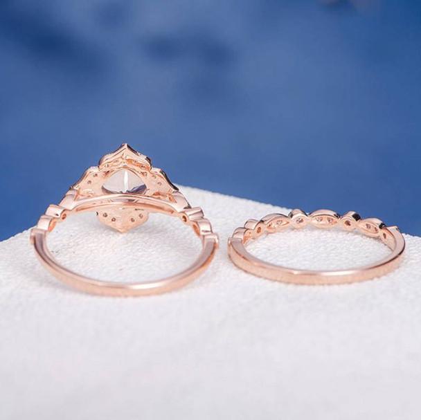 7mmCushion Cut Morganite Halo Diamond  Bridal Set Retro 2pcs