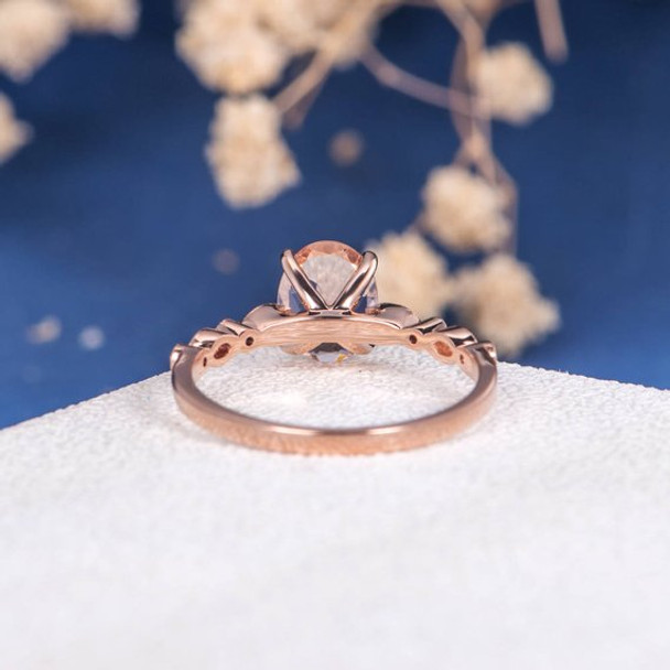 7*9mm Oval Cut Morganite Engagement Ring Art Deco Ring Rose Gold