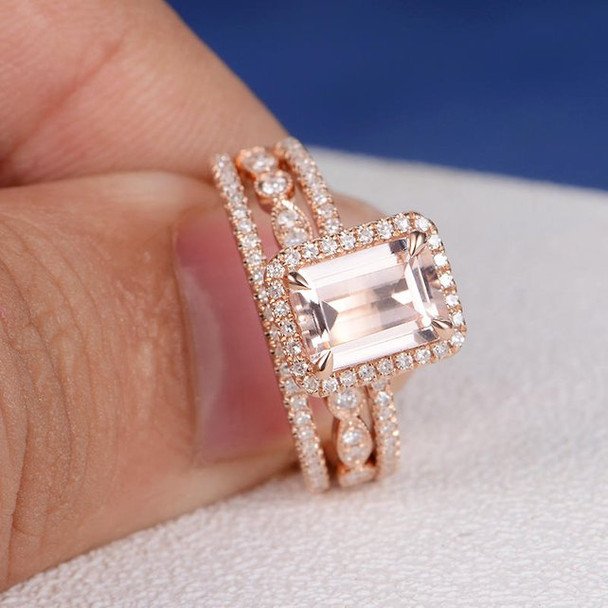 6*8mm Emerald Cut Morganite Bridal Set Eternity Band Stacking