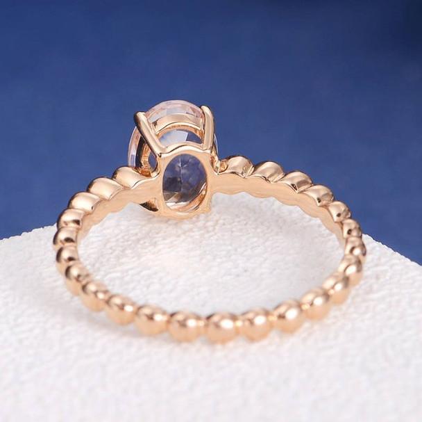 6*8mm Oval Cut  Morganite Anniversary Solitaire Minimalist Ring