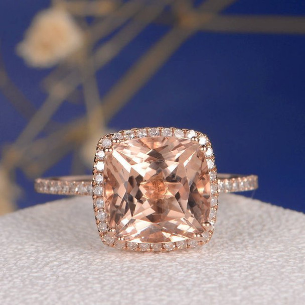 9mm Cushion Cut Morganite Diamond Pave Halo Engagement Ring