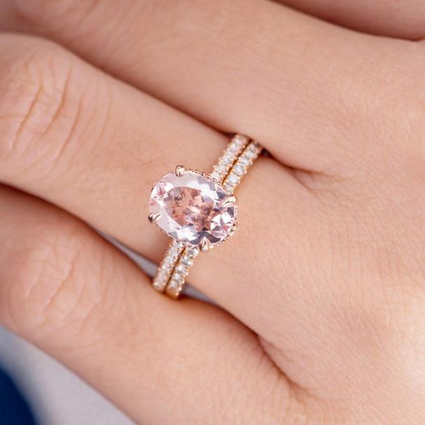 7*9mm Oval Cut Morganite Wedding Ring Anniversary Stacking 2pcs