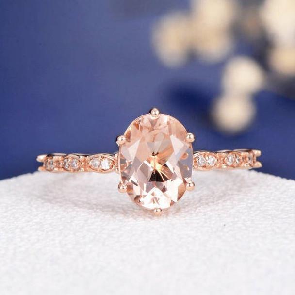 7*9mm Oval Cut  Morganite Art Deco Flower Engagement Ring