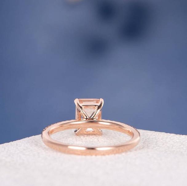 5*7 Emerald Cut  Morganite  Anniversary Solitaire  Engagement Ring
