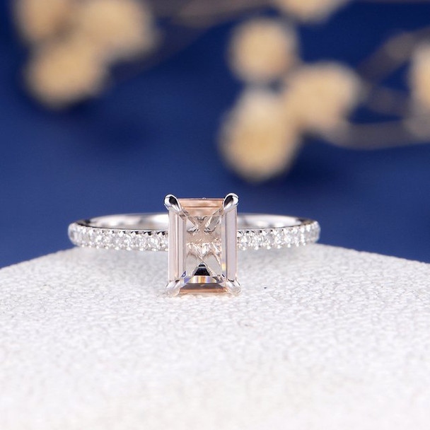 Whire Gold  5*7 Emerald Cut  Morganite  Anniversary Solitaire  Engagement Ring