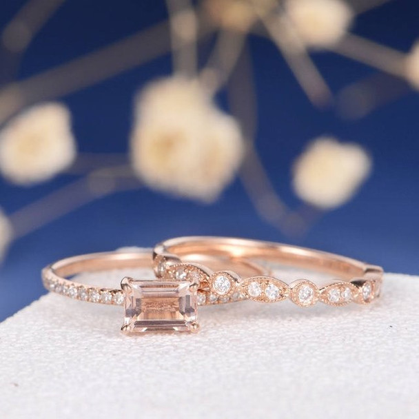 4*6mm Emerald Cut Morganite Bridal Sets Art Deco Wedding Band