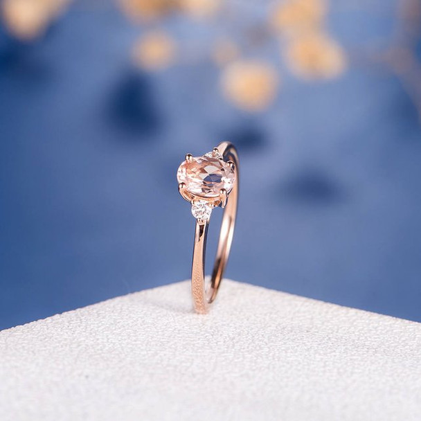 5*7mm Oval Cut Morganite Three Stone Diamond Engagement Ring