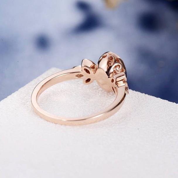 Rose Gold 6*8mm Oval Cut Bezel Set Morganite  Engagement Ring