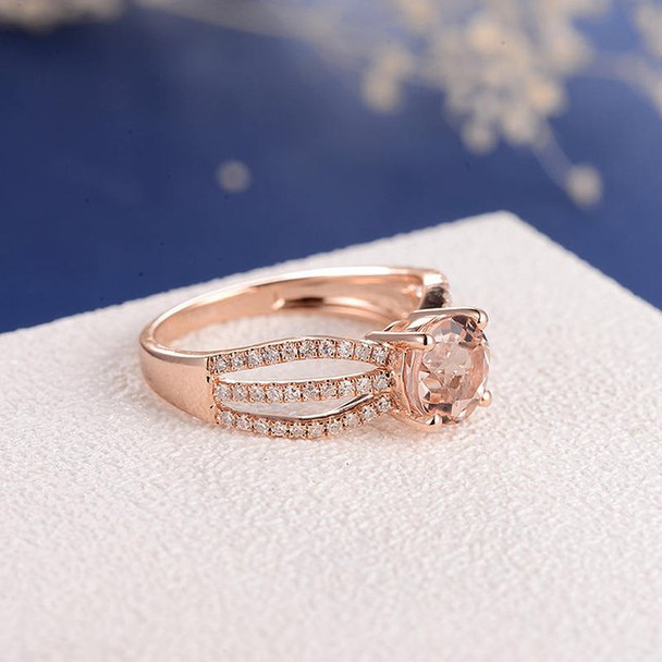 7mm Round  Solitaire Split Shank  Morganite Engagement Ring