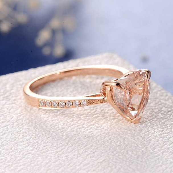 8mm Heart Shaped Morganite Minimalist Engagement Ring