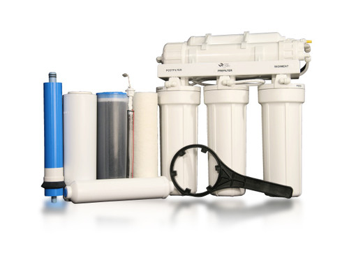 RU500T35 w/BP-UV | Five-Stage Reverse Osmosis Water Filtration + Booster Pump + UV Disinfection for Difficult Well Water