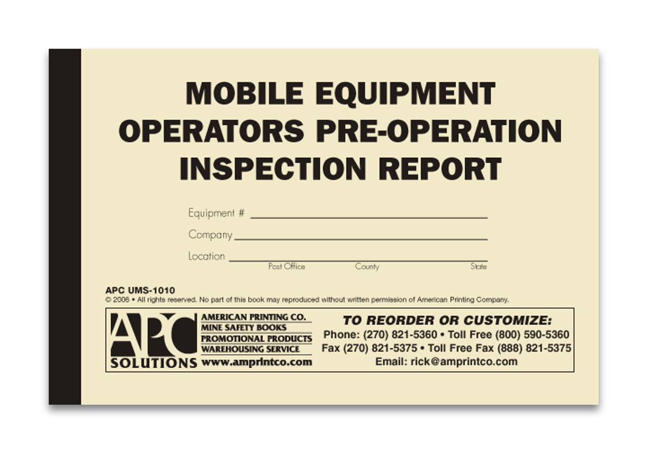 Mobile Equipment Checklist Ums 1010 Mobile Equipment