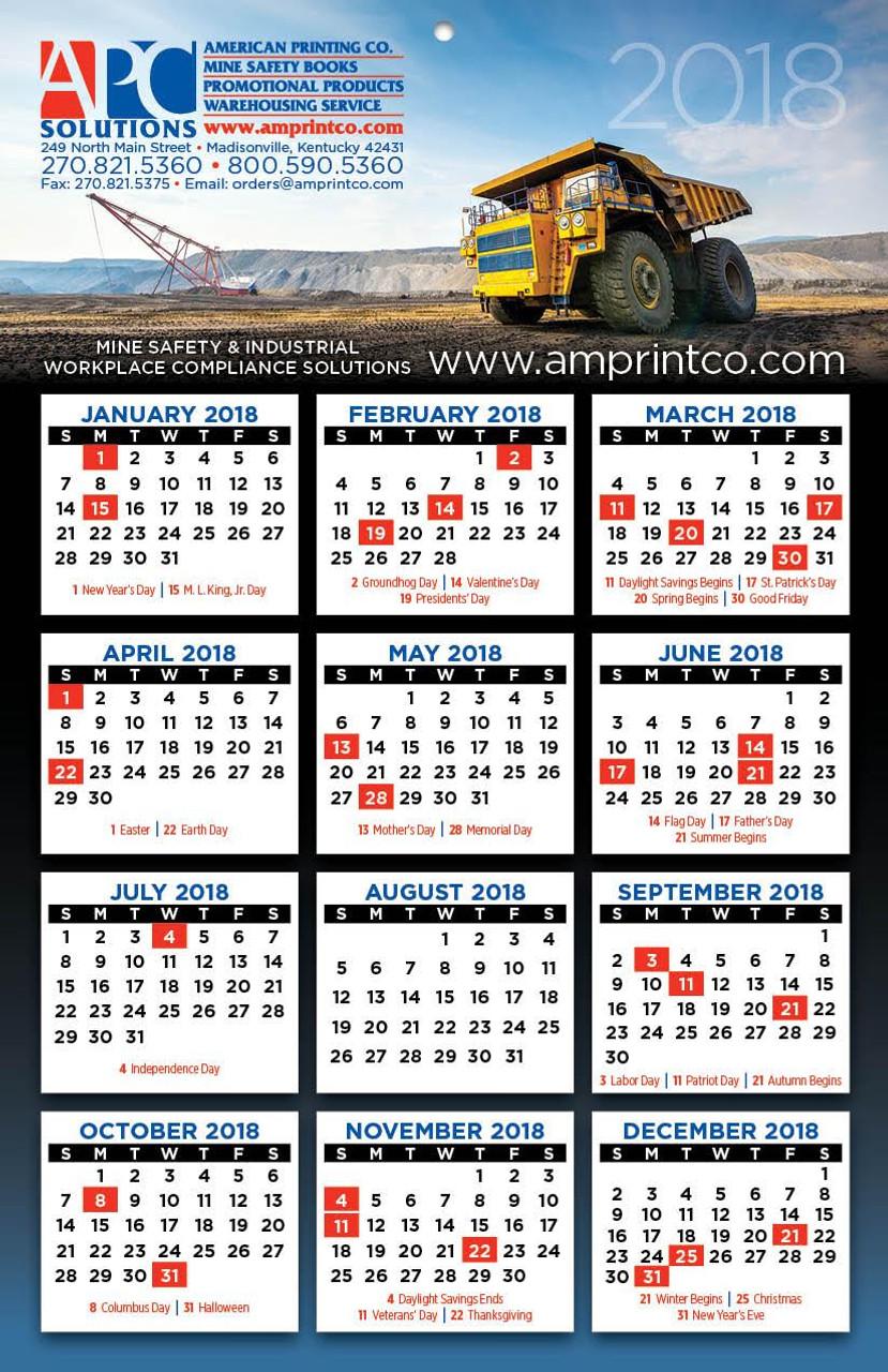 month at a glance calendar 2018