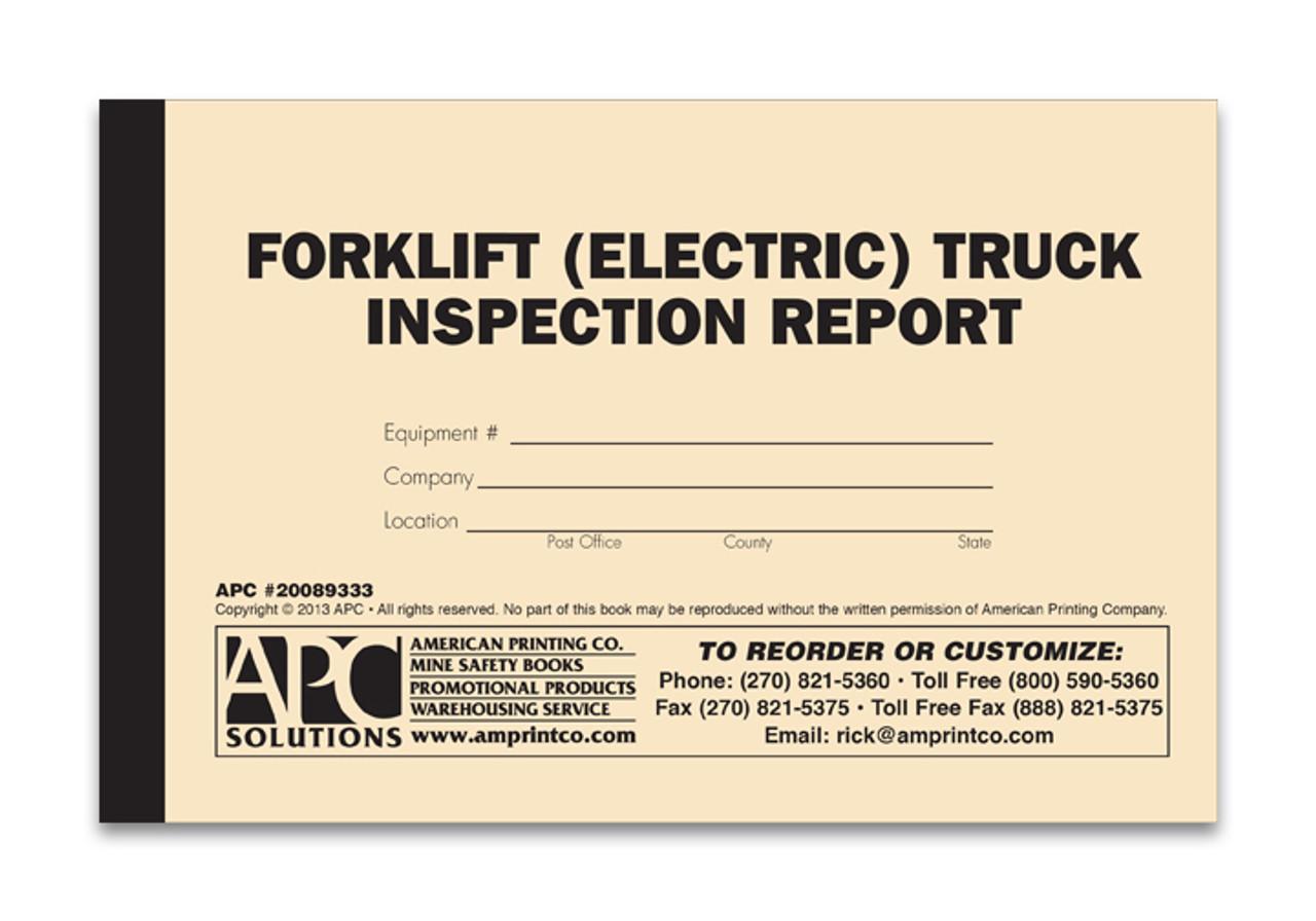 electric forklift pre shift inspection checklist