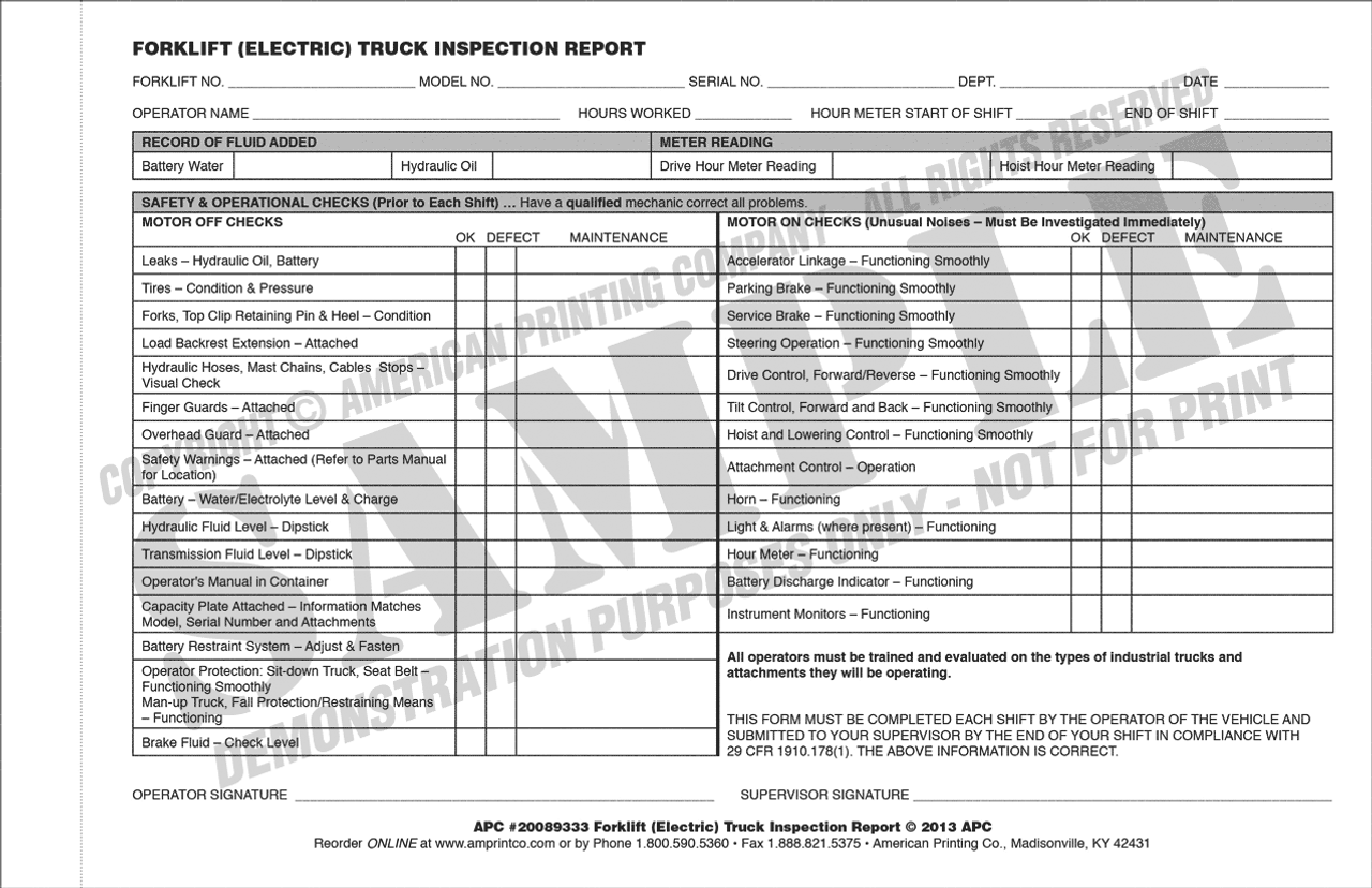 weekly forklift inspection checklist pdf