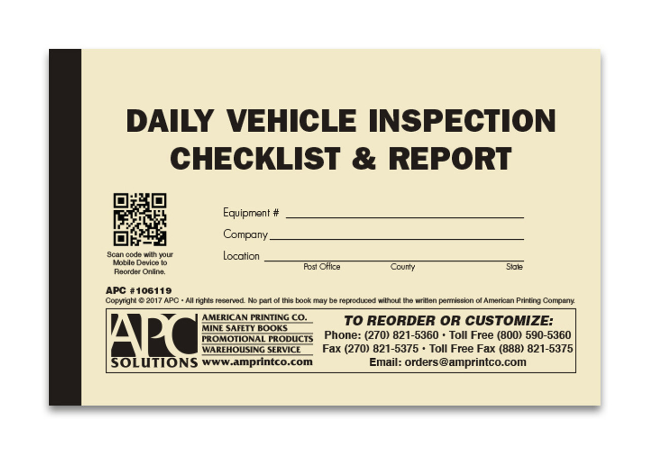 Daily Vehicle Inspection Report >> Daily Vehicle Checklist | 106119: Daily Vehicle Inspection Checklist & Pre-Operation Report