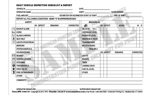 Daily Vehicle Checklist   Daily Vehicle Inspection Checklist