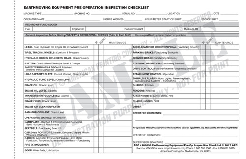 Earthmoving Equipment Checklist   Earthmoving Equipment