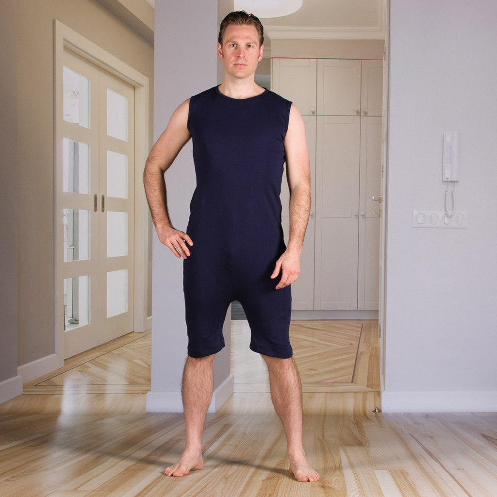 Unisex Bodysuit with a Zipper-Back and Short Legs