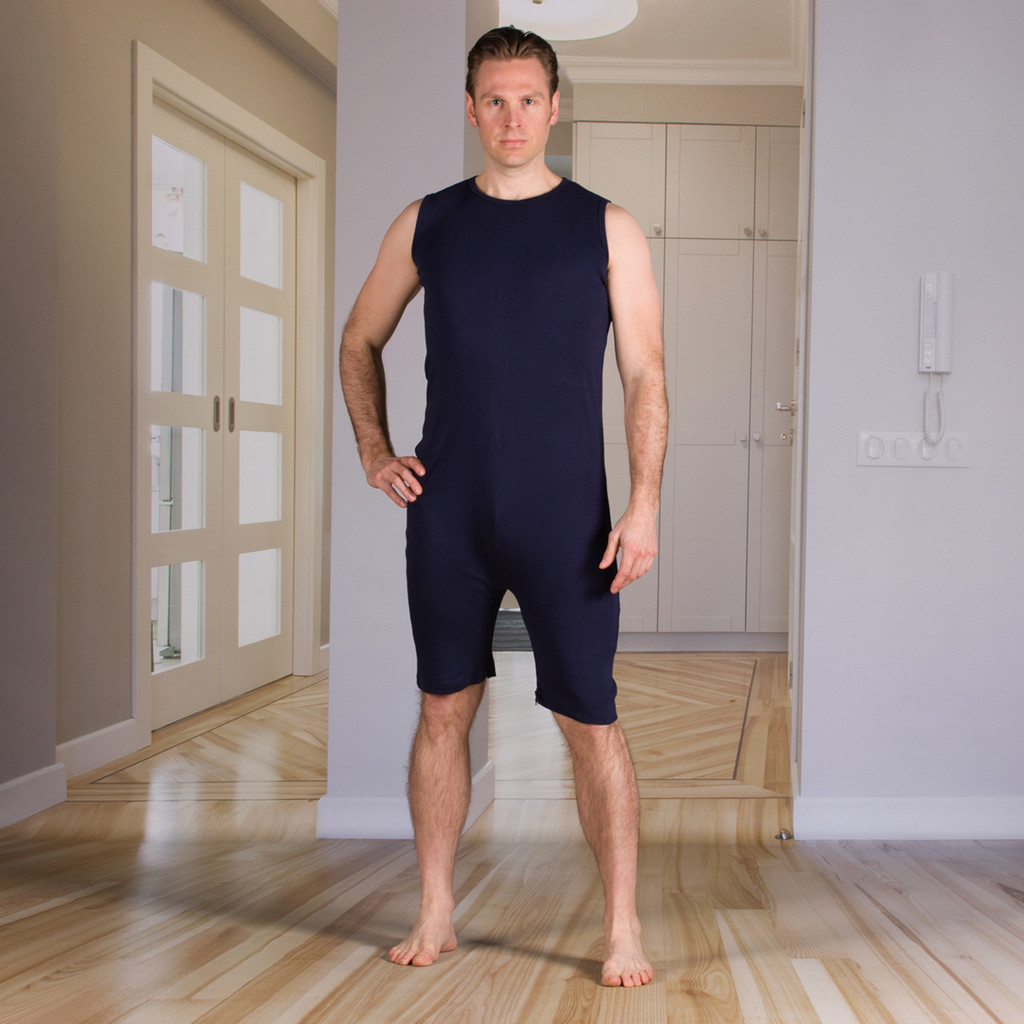 Unisex Bodysuit with Short Legs and a Zippered-Back and Crotch