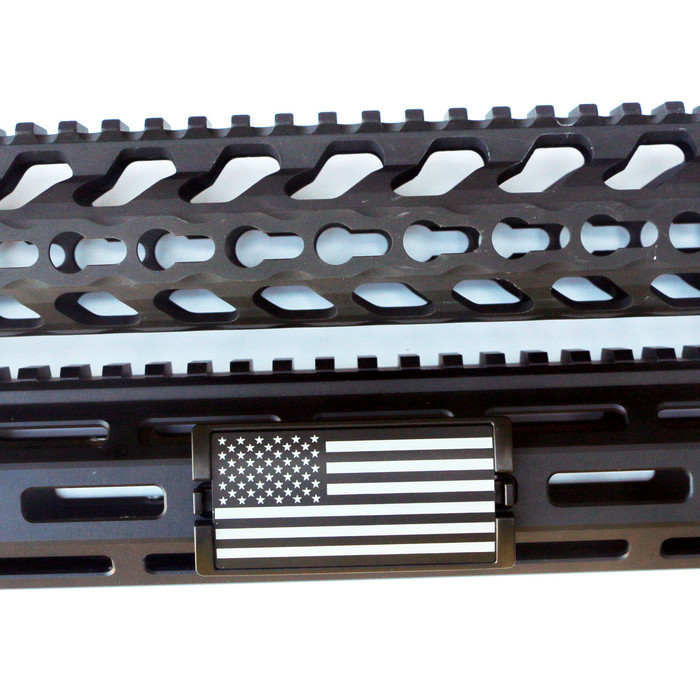 US Flag Laser Engraved Stars Left KeyLok Rail Cover- Black Retainer