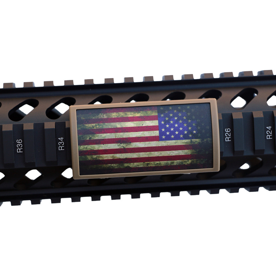 Battleworn US Flag Stars Right Rail Cover