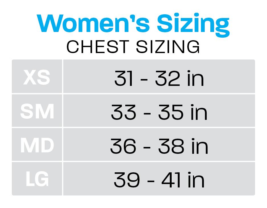 women's chest sizing chart