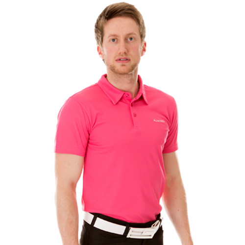 Funktion Golf Mens Short Sleeve Golf Shirt Pink Plain