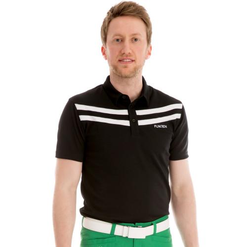 Funktion Golf Mens Short Sleeve Victory 3 Stripe Black/White Golf Shirt.