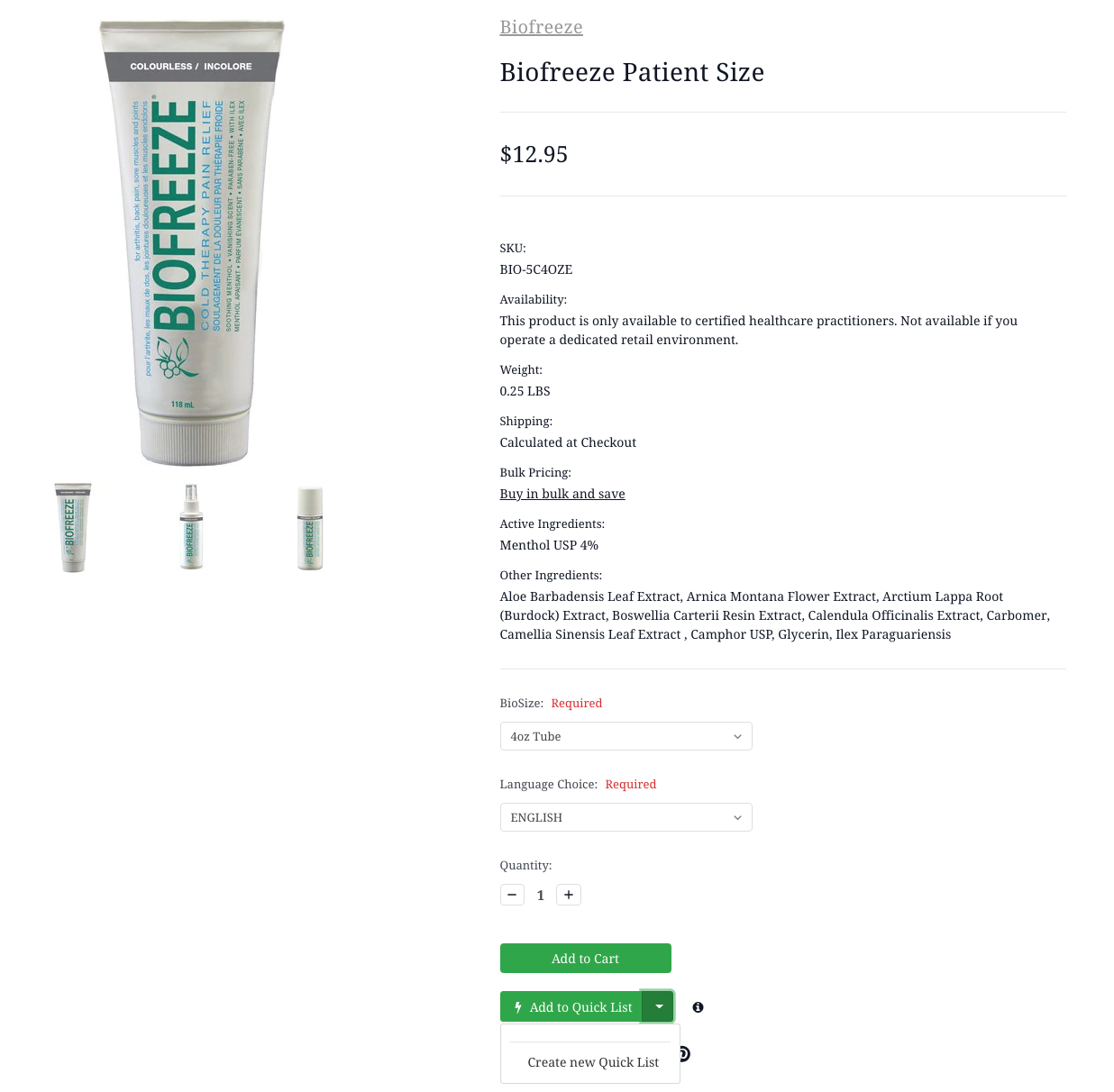 Biofreeze Patient Size Tube