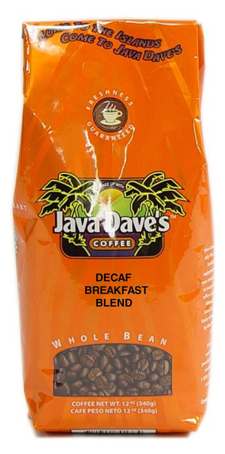 DECAF Breakfast Blend 12oz Bag - Dark Roast, A popular blend of light and dark roast.