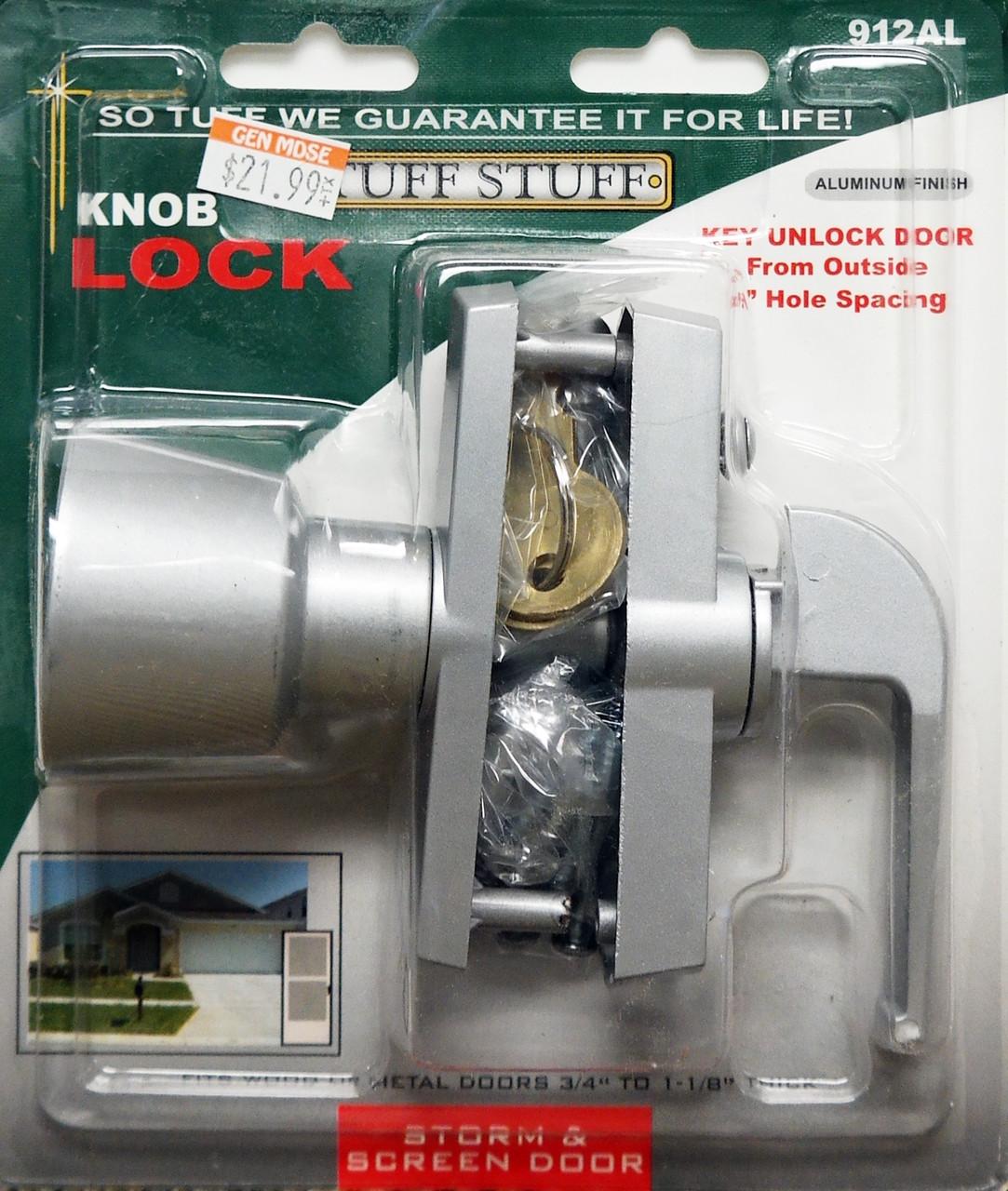 Tuff Stuff Knob Keyed Lock Latch Storm Screen Door Handle Aluminum