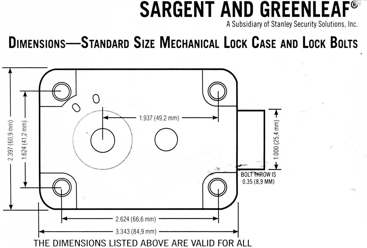 Sargent & Greenleaf Standard Lock Footprint