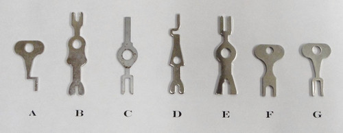 "Light Switch Keys. Please note that item ""G"" is no longer available. However, item ""C"" can be used in its place."